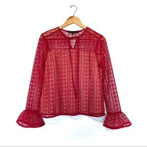English factory red lace tie front blouse crochet